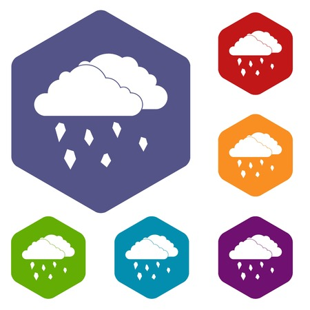 hail: Clouds and hail icons set Illustration