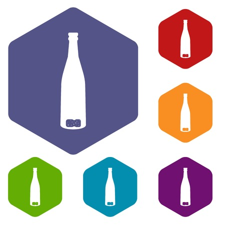 Empty wine bottle icons set rhombus in different colors isolated on white background