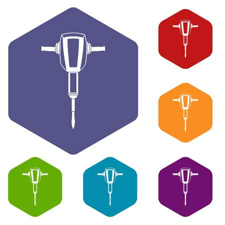 demolishing: Pneumatic plugger hammer icons set rhombus in different colors isolated on white background