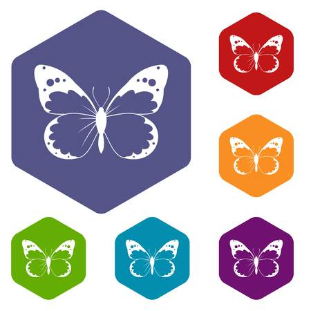 Butterfly icons set rhombus in different colors isolated on white background