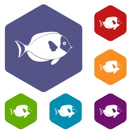 tang: Fish icons set rhombus in different colors isolated on white background Illustration