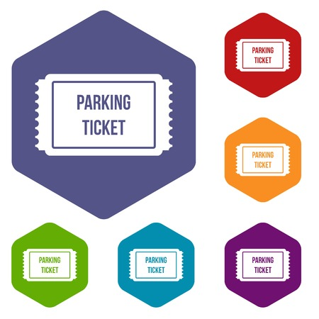traffic warden: Parking ticket icons set rhombus in different colors isolated on white background