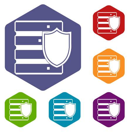 hard drive: Database with shield icons set rhombus in different colors isolated on white background