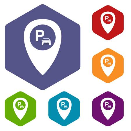 excursions: Map pointer with car parking icons set rhombus in different colors isolated on white background
