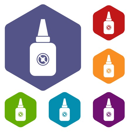 repellent: Insect spray icons set rhombus in different colors isolated on white background