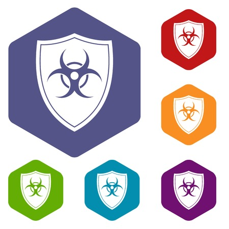 infectious waste: Shield with a biohazard sign icons set rhombus in different colors isolated on white background