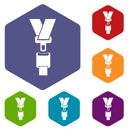 Safety belt icons set rhombus in different colors isolated on white background