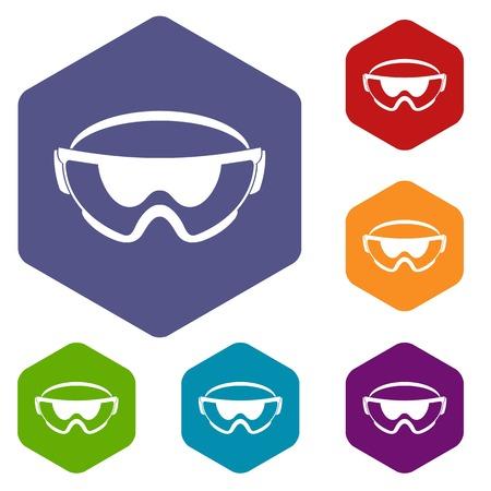Veiligheidsbril iconen set rhombus in verschillende kleuren geïsoleerd op een witte achtergrond