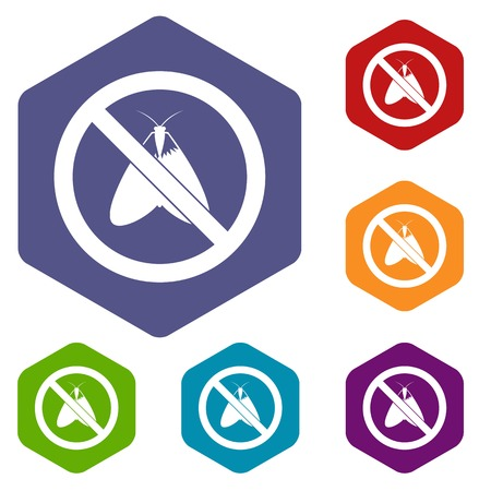 itch: No moth sign icons set rhombus in different colors isolated on white background
