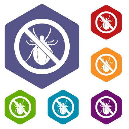 unhygienic: No bug sign icons set rhombus in different colors isolated on white background