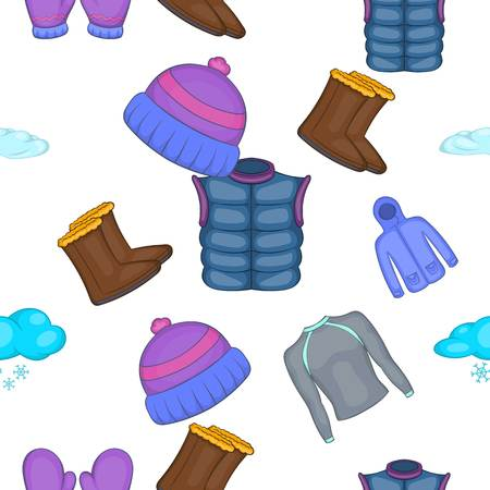 Winter clothes pattern, cartoon style