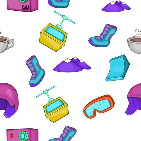 ice tea: Snowboard pattern, cartoon style Illustration