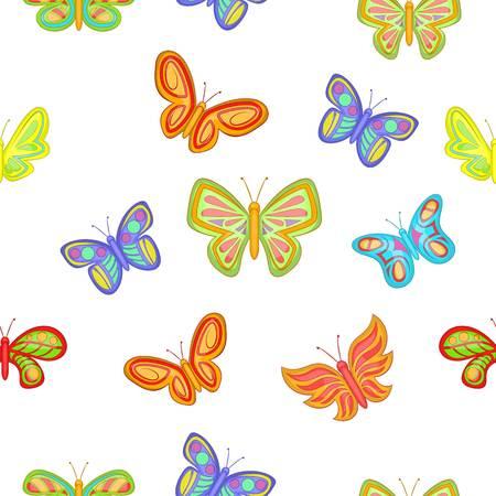 Types of butterflies pattern, cartoon style Illustration