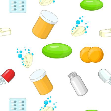 Pills pattern. Cartoon illustration of pills vector pattern for web