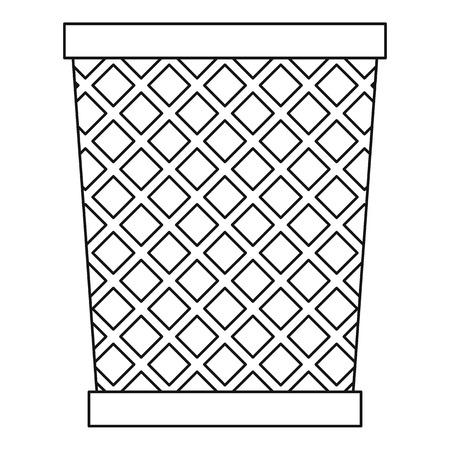 dispose: Empty metal trash garbage bin icon. Outline illustration of empty metal trash garbage bin vector icon for web Illustration