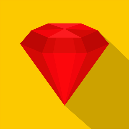 ruby: Ruby icon. Flat illustration of ruby vector icon for web on yellow background