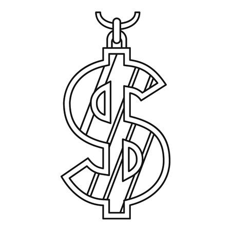 Dollar symbol icon, outline style Illustration