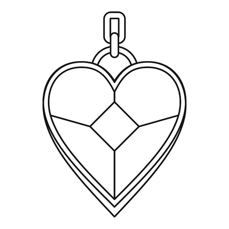 platinum: Pendant in the shape of heart icon, outline style Illustration
