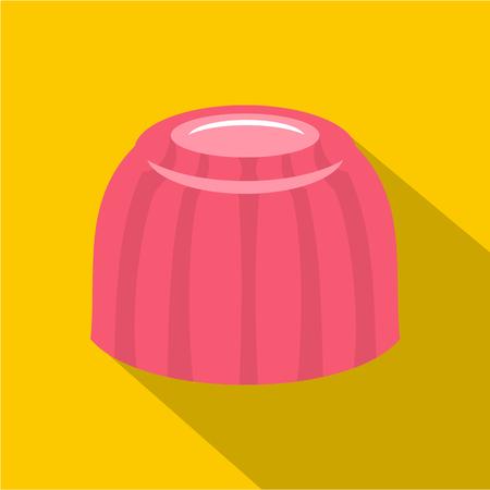 christmas pudding: Pink fruit jelly icon, flat style Illustration