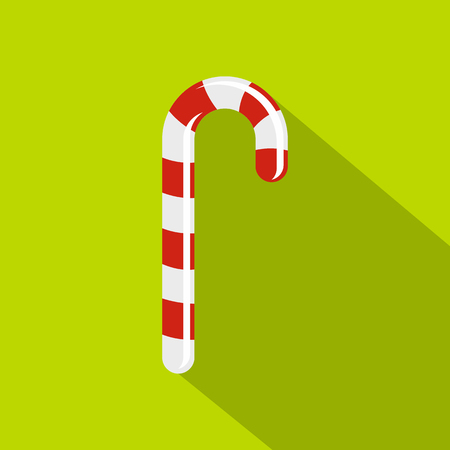 Striped candy cane icon, flat style Illustration