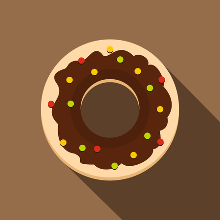 Chocolate donut icon, flat style Illustration