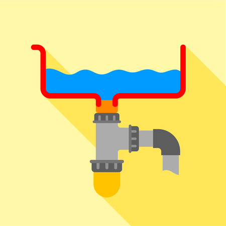 Bathroom siphon icon. Flat illustration of bathroom siphon vector icon for web design Stock Photo