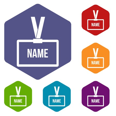 guests: Plastic Name badge with neck strap icons set rhombus in different colors isolated on white background