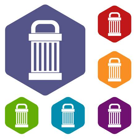 refuse: Trash icons set rhombus in different colors isolated on white background