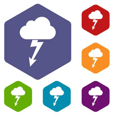 Cloud with lightning icons set rhombus in different colors isolated on white background