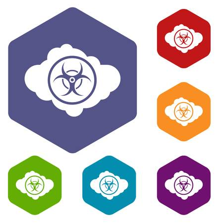 chemical weapon symbol: Cloud with biohazard symbol icons set rhombus in different colors isolated on white background