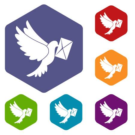 carrier pigeons: Dove carrying envelope icons set rhombus in different colors isolated on white background