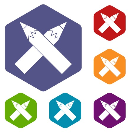 Two crossed pencils icons set