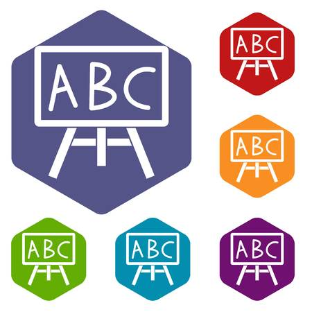 Chalkboard with the leters ABC icons set Stock Illustratie