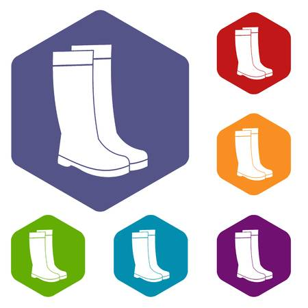 Rubber boots icons set rhombus in different colors isolated on white background Illustration
