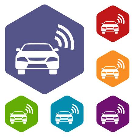 Car with wifi sign icons set rhombus in different colors isolated on white background