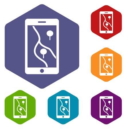 gps navigator: Smartphone with GPS navigator icons set Illustration