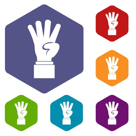 Hand showing number four icons set