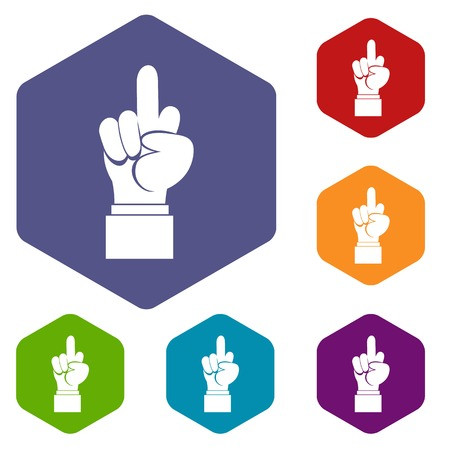 Middle finger hand sign icons set