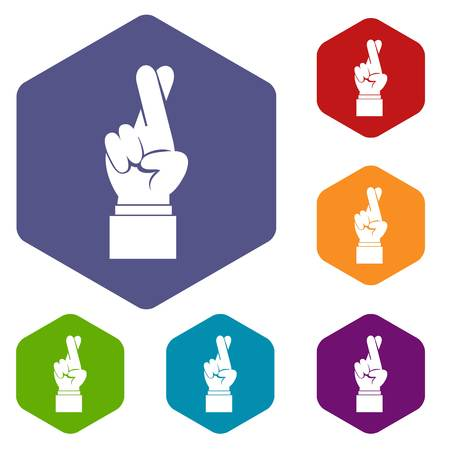 Fingers crossed icons set rhombus in different colors isolated on white background Illustration