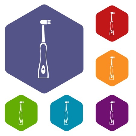 scrubbing: Electric toothbrush icons set rhombus in different colors isolated on white background
