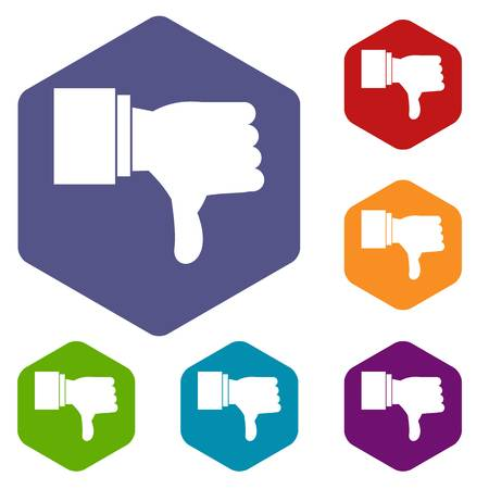 disapprove: Thumb down gesture icons set rhombus in different colors isolated on white background