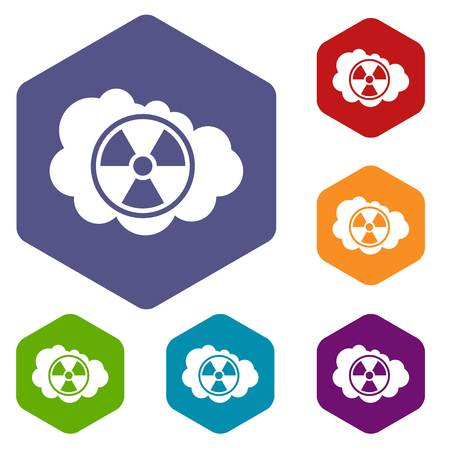 nuke plant: Cloud and radioactive sign icons set rhombus in different colors isolated on white background Illustration