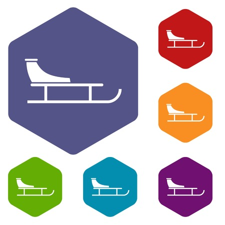 Sled icons set rhombus in different colors isolated on white background