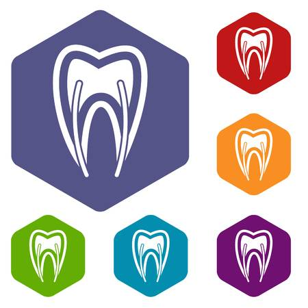 carious: Tooth cross section icons set