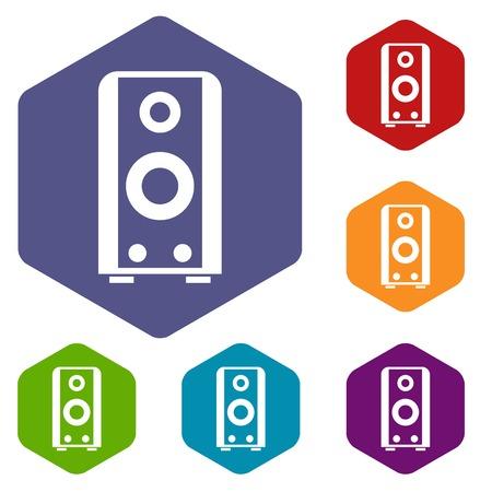sound speaker: Black sound speaker icons set Illustration