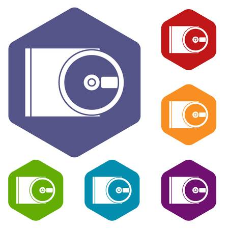 optical disk: DVD drive open icons set Illustration