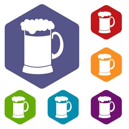 Mug of dark beer icons set Illustration