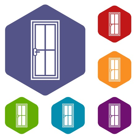 metall and glass: Glass door icons set