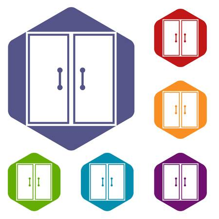 metall and glass: Two glass doors icons set