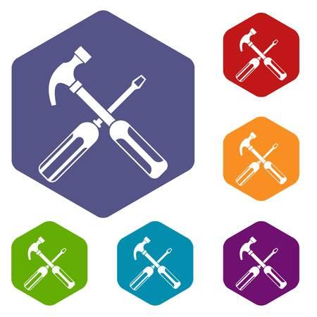 hammer head: Hammer and screwdriver icons set Illustration